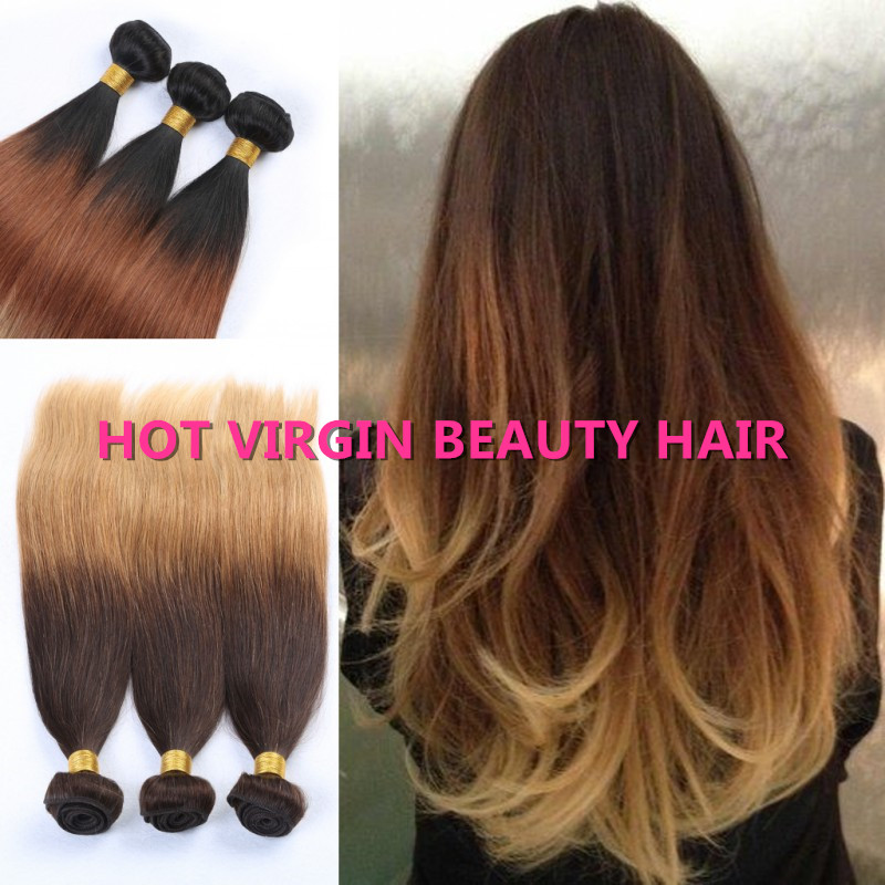 Hot 8A Indian Straight Virgin Hair Ombre Indian Human Hair Weave Three Tone Color 3PC 100% Queen Virgin Human Hair Free Shipping<br><br>Aliexpress