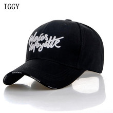 (IGGY) Unisex Embroidery Youth Letter Baseball Cap Man and woman Snapback Hip Hop Flat Hat Black White Hot Pink dad cap(China)