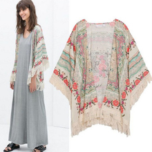 Hot Marketing New Summer Women Floral Loose Tassels Shawl Kimono Cardigan Coat Jacket Jul10 Drop Shipping