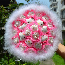 Upscale Exquisite Valentine Day Bouquet 8 Hello Kitty Plush Toy 17 White Artificial Rose Feather Toy Bouquet Color Optional D29(China)