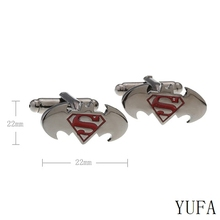 Shirt Accessories Superhero Trendy Design Batman Cufflinks Top Quality Free shipping Superman Combinated Cufflinks For Party(China)