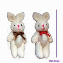 "15cm(6"") Bow Rabbit With Tie Plush Bunny Toy Bouquet Package Keychain jewellery accessory gift Soft Amigurumi Stuffed Doll"