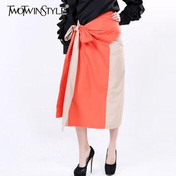 [Twotwinstyle] 2017 primavera irregular faldas patchwork hit colores de cintura alta falda de las mujeres de nueva moda streetwear