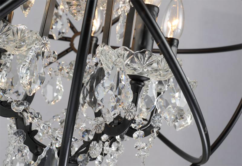 Retro pendant crystal iron ball shape Lamp E14 Nordic industry Vintage Loft american country Art _1Ceiling Lamp-10