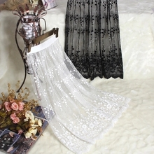 Spring and autumn lace transparent half slip single layer gauze medium long underskirt female all match petticoat(China)