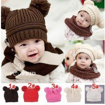 Korean New Fashion Baby  Dual Ball Knit Sweater Cap Hats Girls Boys Kids Children Winter Warm Knitted