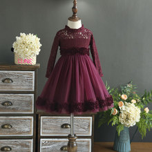 Children's clothing 2017 autumn girl fine three-dimensional flowers lace dress hollow mesh yarn dress