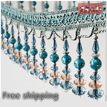 6 meters A lot Crystal Beaded Lace for curtains Sofa Cover Lamp Tassel Fringe Ribbon Lace Craft Sewing Accessories Decoration(China)