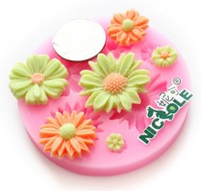 6 hole Daisy flower Silicone 3D Mold Cookware 7.4x7.4x1cm Non-Stick Cake Decoration Fondant Sugar Craft soap chocolate Mould E68