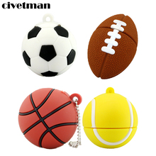 Pendrive Football USB Stick 64GB 8GB 16GB 32GB Cartoon basketball model USB 2.0 Flash Memory Pen Drive 100% Full Capacity