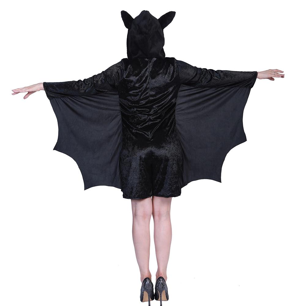 4ffe718101f Carnival Black Vampire Bat Halloween Costume for Women Animal Jumpsuit Adult  Anime Cosplay Novelty Onesie Wings Cape Fancy Dress