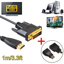 HDMI Male to DVI 24+1 Male Cable Cord Wire HDMI Converter 1080P 5Gbps with Micro/Mini HDMI Male to HDMI Female Adapter(China)