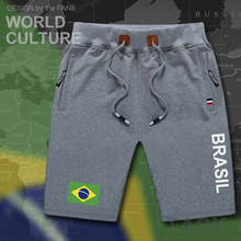 Brazil mens shorts beach new men's board shorts flag workout zipper pocket sweat bodybuilding 2017 brasil BRA Brazilian gyms(China)