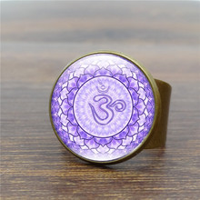 Vintage Antique Ring Mandala Flower Art Glass Dome Rings for Women Yoga Om Symbol Ring Adjustable Anillos Mujer S5007