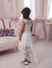 White Lace first communion dresses for girls with detachable train Elegant Hi-Lo flower girl dresses kids prom dresses FL11