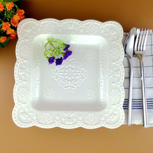 Modern Style Elegant Engraving Bone China Dessert & Soup Plate with Lace Pattern for Dinner Party / Buffet(China)