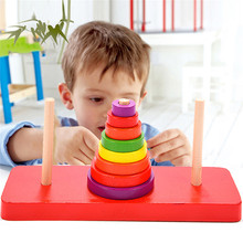 New Classic Mathematical Puzzle Toy Wood Puzzles Tower of Hanoi Educational Wooden Toys for Children to Develop Intelligence(China)