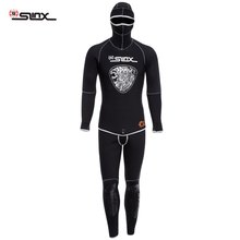 SLINX 1301 Men 5MM Full Body Diving Suit Two-piece Wetsuit Diving Suit Long Sleeve Warmth Sunblock Wetsuit with Headgear