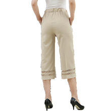 Middle Aged Women's Three Quater Pants Khaki Gray Black Cropped Trousers Office Elegant Crochet Hem Pant Elastic Waist Trousers