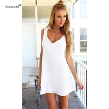 Buy Mini Beach Dress Sexy V Neck Sleeveless White Summer Dress Women Backless Dresses New chiffon lace short White Halter Dress 6600