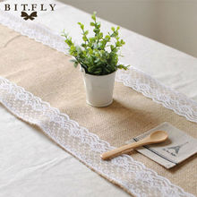 30x275cm Vintage Burlap Lace Hessian Table Runner Natural Jute Country Party Wedding Decoration(China)