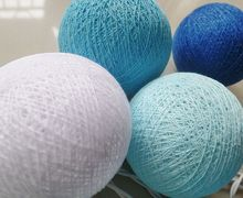 New design NAVY BLUE TONE cotton ball string lights , Fairy,Wedding,party,Patio Decor(China)