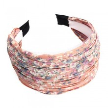 2PCS Women Wide Headband Head Hair Alice Band Printed Pink Pleats Wedding Fashion