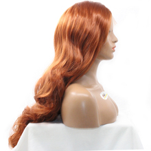 "DLME Free Part Auburn 350# Ginger Red Color Body Wave Wig 18""-26"" Synthetic Hair Lace Front Wigs For Black Women Heat Resistant(China)"