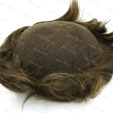 Bleached Knots Men's Toupee Real Indian Hair Wig Swiss Lace Whole Sales H074