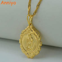 Anniyo Wholesale Lucky Gold Color Virgin Mary Pendants Necklaces Chain Women,Christianity Jewelry Our Lady Goddess #050504(China)