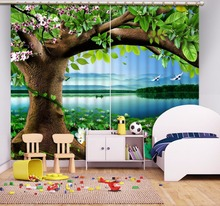 HD Lifelike pond landscape Cutains For Living Room Big tree Printing Blackout Curtains Polyester Hooks Curtains 3D Sheer Curtain(China)