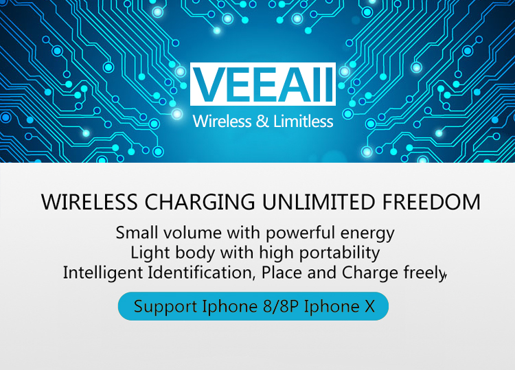 VEEAII 10 w Qi Sans Fil Chargeur for iPhone X 8 Verre Rapide Wireless Recharge Sans Fil Pad Pour Samsung Galaxy S9 s8 Plus S7