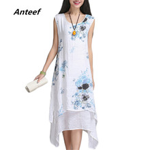 new fashion summer style cotton linen plus size vintage print women casual loose dress vestidos femininos party 2017 dresses