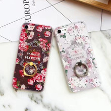 SZYHOME Phone Cases for IPhone 6 6s 7 Plus Case Lace Holder Ring Discounted for IPhone Plus Embossment Mobile Phone Cover Capa 2