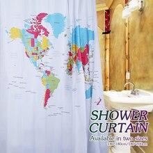 Bath Fabric World Map Shower Curtain Bathroom Decor Waterproof Classic Designer Model With Plastic
