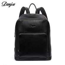 DANJUE new arrival men genuine leather backpacks brand high quality real leather travel backpack black color business laptop bag