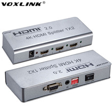 VOXLINK 4K 1X2 HDMI 2.0 Splitter 1080P 1 IN 2 Out HDMI Splitter Switcher With EDID RS232 HDCP Support IR Extender For HDTV