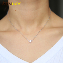 silver delicate jewelry silver minimalist jewelry single 5mm clear cz prong setting 925 sterling slver thin chain necklace(China)