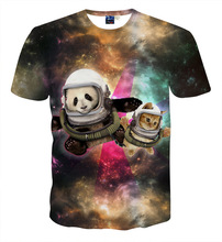 big kids cartoon t shirt panda cat astronaut print tops tees Children's Clothing summer t-shirts