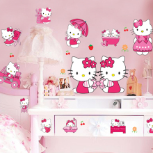 sticker cheap kids bedroom decor 3d hello kitty stickers cartoon wall stickers for kids roomsadesivo de parede muurstickers(China)