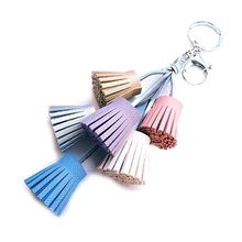 Leather Tassel Keychain Car Bag Accessories Big Key Rings Christmas Gifts(China)