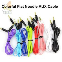 High quality 3.5mm to 3.5mm Colorful flat type Car Aux audio Cable Extended Audio Auxiliary Cable wholesale cheap price 500pcs