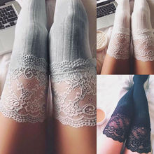 Hot Fashion Ladies Hosiery Thigh High Stockings Lace Top Pantyhose Women Winter Knit Over Knee Long Boot Warm Leggings Stockings