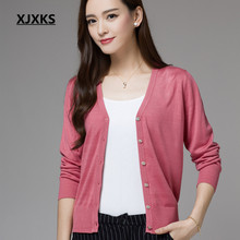 XJXKS Women Spring and Autumn Solid Color Single Breasted Basic Cardigans Tops V-Neck Knitted Fall Sweaters 304(China)