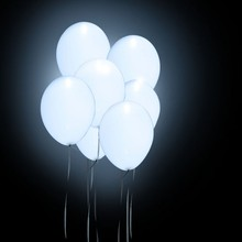(50pcs/lot) 12inch White Led latex Balloon Fix Color Helium Inflatable Party glow  birthday party supplies Wedding Decoration