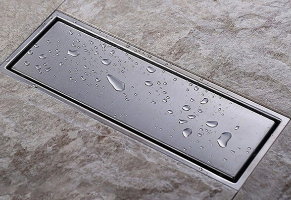 High Quality 304 solid stainless steel 300 x 110mm square anti-odor floor drain bathroom invisible shower floor drain<br>
