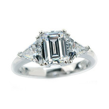 Glamour 3Ct Emerald Cut Synthetic Diamonds Ring Fancy 925 Sterling Silver Wedding Jewelry White Gold Color Wedding Ring