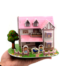 3D Puzzle Cartoon House Building Model Educational Toys For Children DIY Kids Toys Puzzles(China)