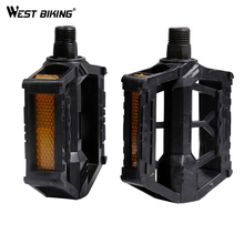 WEST BIKING Bike Plastic Pedals MTB BMX Road Montane Bicycle Platform Pedals Bike Lightweight Bicycle Performance Pedals