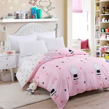 Cute Pink White Rabbit Duvet Cover 1 Pc Aloe Cotton Bedding Quilt Blanket Comforter Cover 150*200cm 180*220cm 200*230 220*240cm(China)